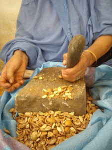 Hand cracked Argan nuts by Berber women