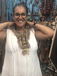 Trying antique beads jewelry in Taroudant
