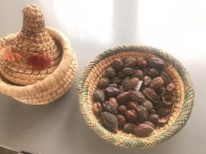 Argan nuts in baskets at cooperative Tirizite Arazane