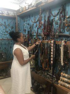 Admiring vintage jewelry in Taroudant