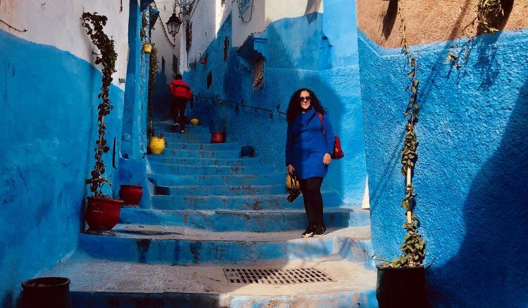 Khadija Fajry in Chefchaouen Blue Steps